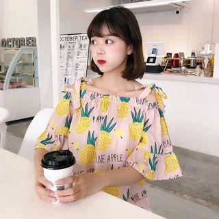 [PO] Korean Style Pineapple Off-Shoulder Top