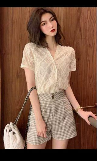 PO 69 Crochet Lace Pattern Pearl Button V Neck Short Sleeve Scallop Frills Shirt Top with Mini Checkered Square Pattern Short Pants Short Ulzzang