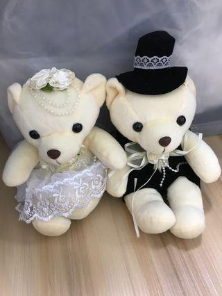 Free Wedding car decoration couple bears