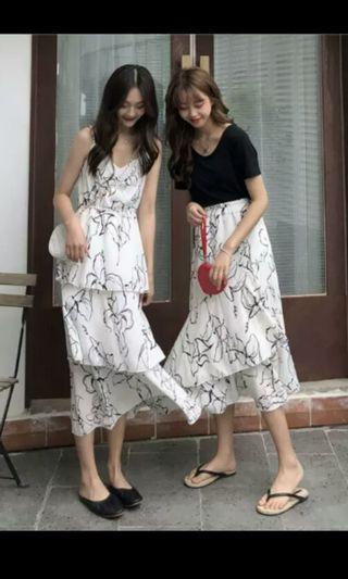 PO 68 Line Pattern Floral Flower Print Strap Dress & Stretchable Waist Skirt 2 Piece Set Ulzzang 2 Colours black / white