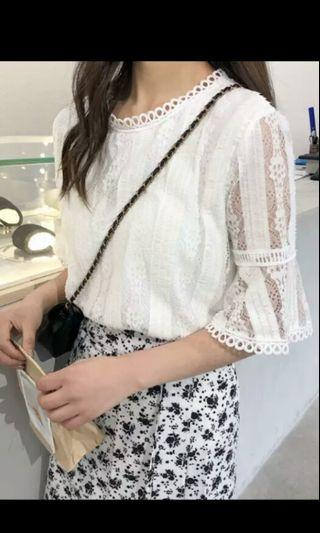 PO 66 White Mesh Half Bell Sleeve Lace Floral Pattern Blouse Top Ulzzang