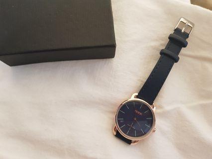 🚚 全新未使用 圓形金邊深藍皮革手錶 文青 藍
