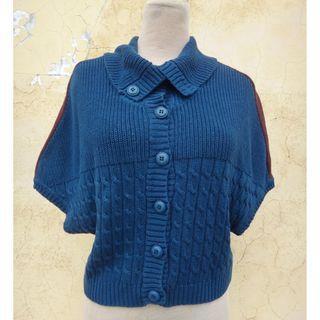 正品 KEY WEAR 奇威 湛藍色 五分袖 針織罩衫 size: XL