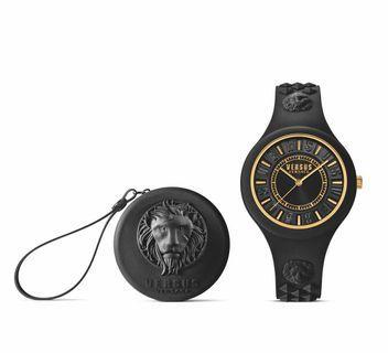 🚚 Unisex Versus Versace Fire Island Black Gold Watch