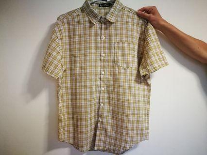 黃格紋襯衫