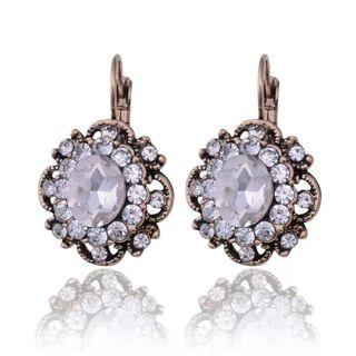 Cute white flower crystals earrings