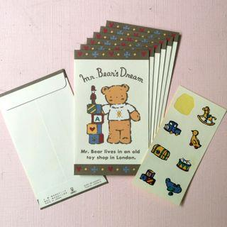 已絕版 Sanrio Mr. Bear 精美小熊信封 小貼紙 7個 1996年 日本製 Made in Japan 中古