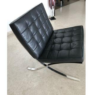 """Leather Lounge Chair """"Barcelona Type"""""""