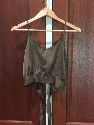 Silk tie up khaki crop singlet
