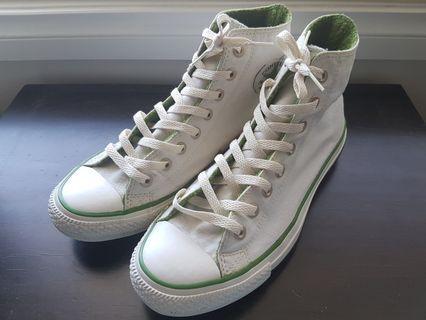 Converse White/Green Hi Tops Shoes