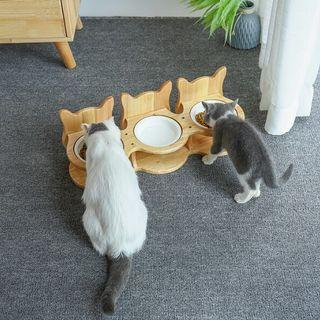 [Pre-Order] Pet Stainless Steel/Ceramic tableware Pet Feeding and Drinking Bowls with Bamboo Frame