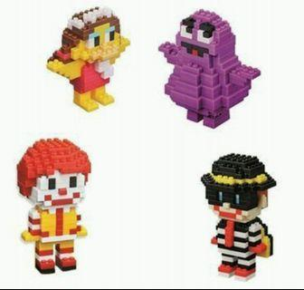 McDonald's 麥當勞 x Nanoblock lego nano block Ronald & Friends 4款 sonny angel one piece pooh chip m dale bearbrick tomica sonny angel q posket rement