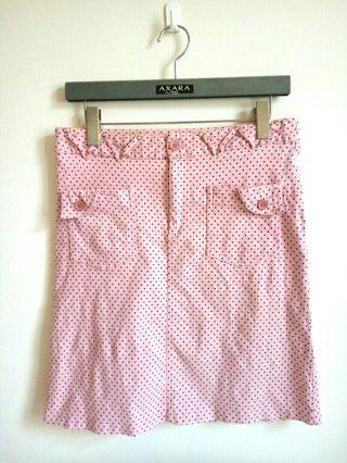 【Betty's】俏麗粉紅圓點牛仔裙(L)