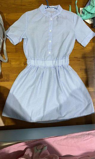 Pretty Light Blue Striped Dress