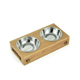[Pre-Order] Cat Dog Pet Stainless Steel/Ceramic Feeding and Drinking Bowls Combination with Bamboo Frame