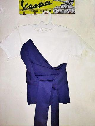 White Navy Top