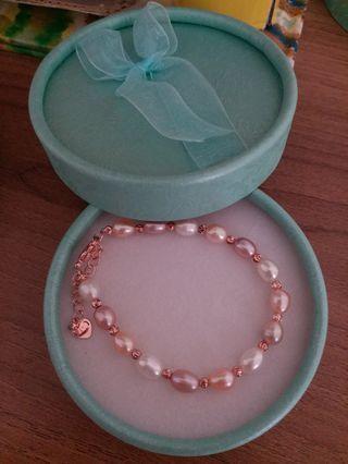 玫瑰金淡水珍珠手鏈 母親節禮物