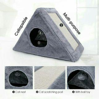 [Pre-Order] Collapsible Cat Bed Toy Multi-functional Funny Cat Scratcher Toy With Ball Toy