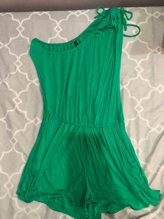 Green one shoulder one piece