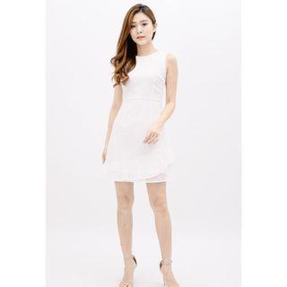 FROSTINE RUFFLE HEM EYELET DRESS (WHITE)