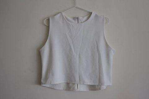 無袖短背心|白色 厚質料 韓版