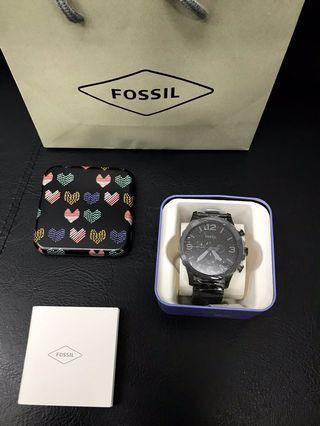 🚚 美國FOSSIL 消光黑 三眼不鏽鋼大錶