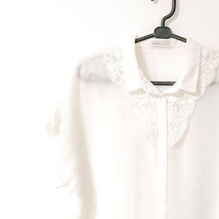 Earth music ecology 日貨 近全新 白色百搭蕾絲罩衫 透明罩衫 內搭上衣