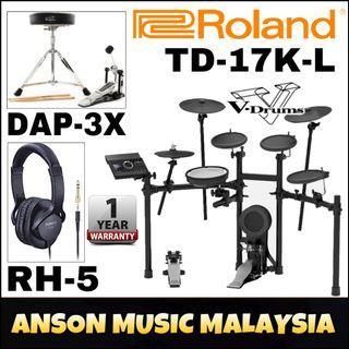 Roland TD-17K-L V-Drums w/Roland RH-5 Headphones & Roland DAP-3X V-Drums Accessory Package