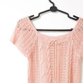 🚚 DITA 專櫃 鏤空針織 粉色上衣 麻花編織 麻花針織 短袖上衣 長版上衣 淑女上衣 蝴蝶結
