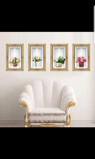 🚚 4 vase $13. 3D vase simulation art wall stickers living room staircase wall decoration wall sticker Size see last picture *CM
