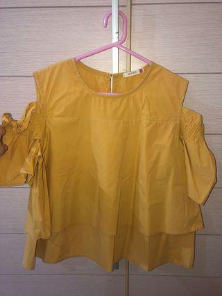 Mustard yellow off shoulder top