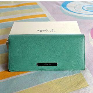agnes b Voyage Wallet Turqoise Navy Cow leather