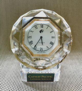 Vintage Cathay Pacific MAS Crystal Deco Clock