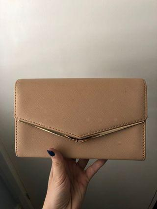 Colette Nude Clutch with Gold Detail