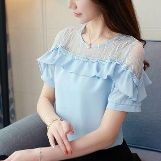 Sexy Sheer Lace Ruffles Trimmed Top Blouse Colours: Blue, White Size: S,M,L,XL,XXL Self pick up Sai Ying Pun MTR or Add postage Interest buyers, please pm directly