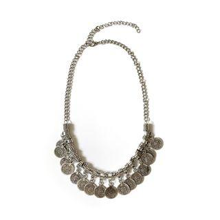 Bohemian Gypsy Silver Necklace with Turkish Coins