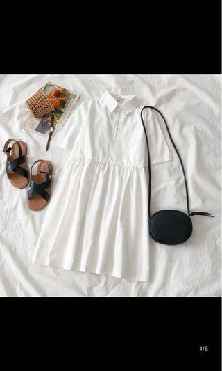 🚚 純白短洋裝