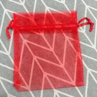 Red Organza Pouch Bag (Set of 5) 10cm x 12cm