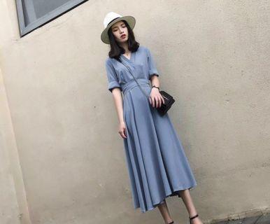 🚚 Plus Sized Dusty Blue Dress SALE KOREAN UZZLANG