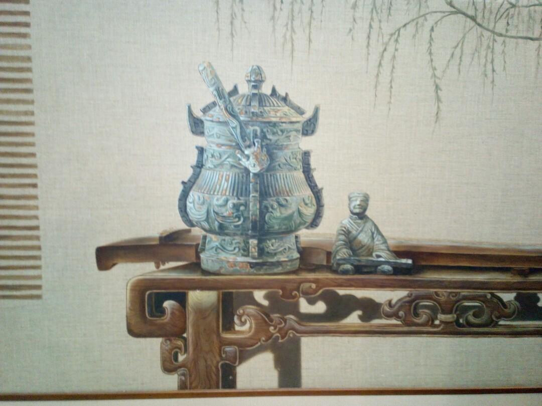 油画。青铜器。178X100。框。郑明华画。