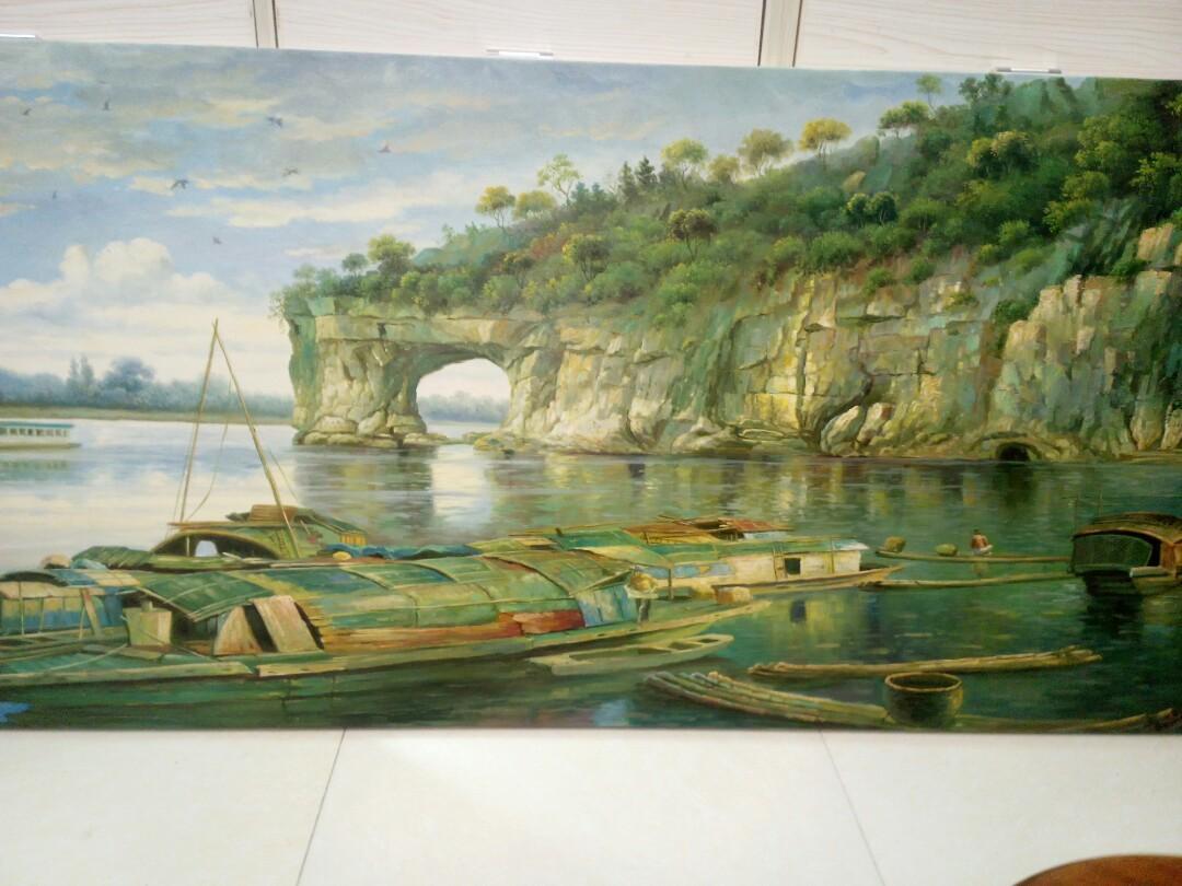 油画。<桂林山水>。179X80cm。王礼志画