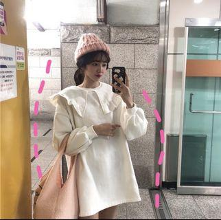 Korean harajuku doll collar dress : korea style brand new women fashion 2019 ulzzang oversized fleece wool coat dress thick pleated ruffled frill collar bubble lantern puff sleeve round neck dew lotus leaf lapel long sleeved babydoll dress skirt
