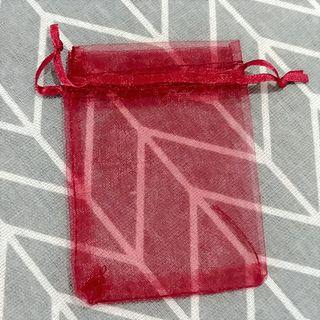 Wine Red Organza Pouch Bag (Set of 5) 7cm x 9cm