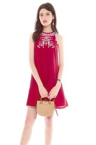 BN ACW Wine Embroidery Halter neck Dress
