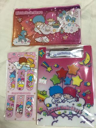 🚚 Little Twin Stars Clip-folder, Magnetic bookmarks-rulers, Pencil-case