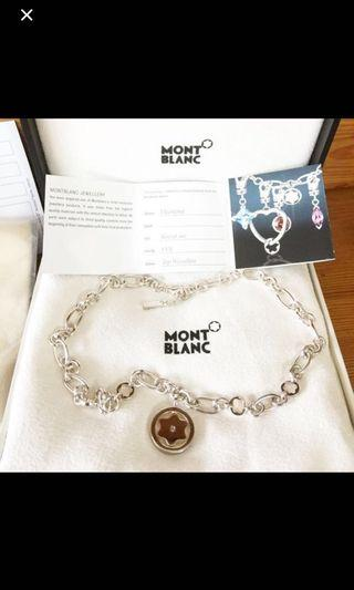 Auth Montblanc Silver Necklace with Diamond Charm