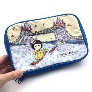 (中古) 3DS Console Bag 藍色女孩 主機保護套 收納拉鏈袋