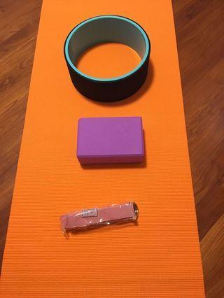 瑜珈墊瑜加席瑜珈輪瑜珈磚伸展帶拉筋帶yoga mat yoga wheel yoga block stretch belt