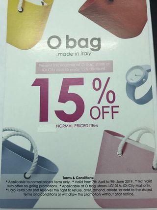 O bag 15% off discount voucher #EST50
