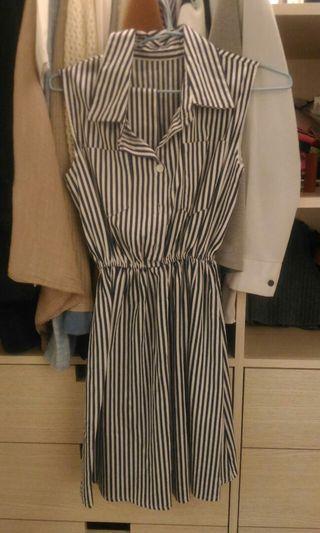 藍白條紋無袖襯衫小洋裝#半價衣服拍賣會